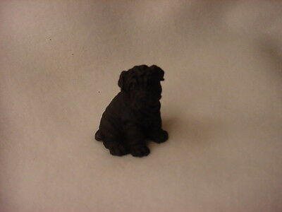 SHAR PEI black puppy TiNY FIGURINE Dog MINIATURE Mini Resin SHARPEI Statue NEW