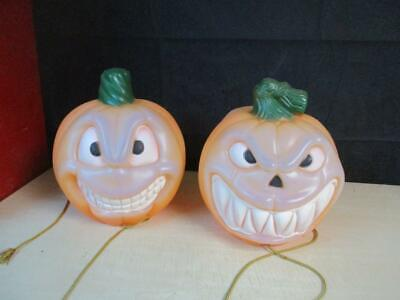 """Pair of Empire Two Faced Double Sided 12"""" Blow Mold Jack O Lantern Pumpkins"""
