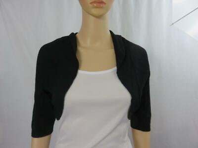 Lela Rose Knit Bolero Shrug Cardigan Sweater Silk Cashmere Black Size M Knit Bolero Shrug