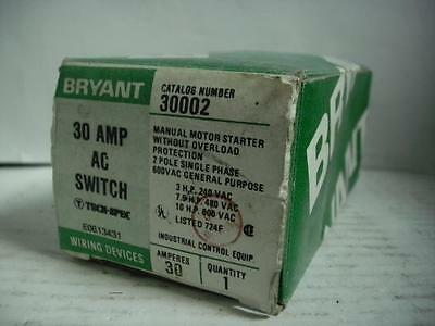 Bryant E0613431 30a Manual Motor Starter Switch 2 Pole Single Phase 600vac New