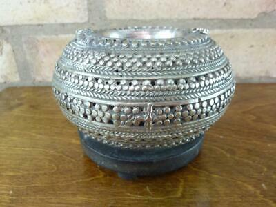 Nice vintage Asian Silver metal Incense holder on wooden Base