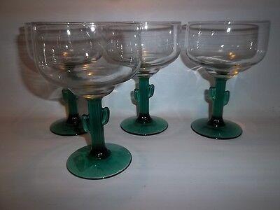 4 Libbey Rock (4 Libbey Rock Sharpe Cactus Martini Margarita Glasses Green Stems)