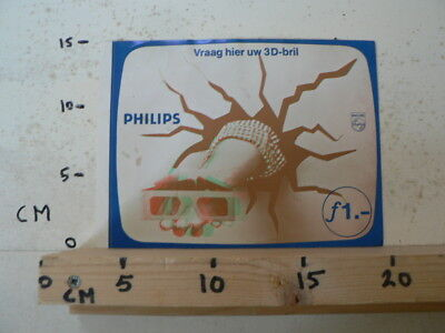 STICKER,DECAL PHILIPS VRAAH HIER UW 3D BRIL LARGE NOT 100 % OK TV VIDEO