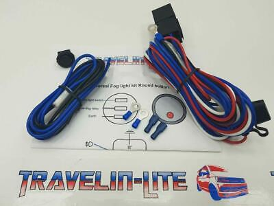 Universal Fog Light Wiring Kit & Led Switch Fog Lamps Pre Wired (Round Switch)