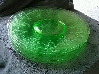 "Green Depression Glass Cameo Ballerina pattern Dinner Plate 10"" (5 available )"