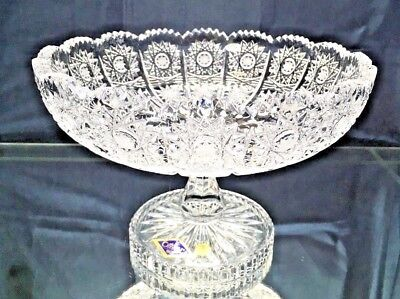 "Crystal Glass Footed Bowl 8 "" Hand Cut for Sweets Fruits Candy Bohemian Crystal"