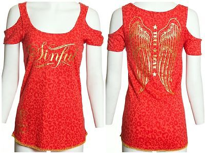 Sinful AFFLICTION Womens T-Shirt Top SIMONE Cheetah Print WINGS Tattoo Biker $58