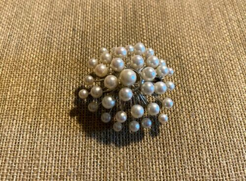 Vintage Atomic Sterling Silver Pearl Brooch Pin Pendant (13.8g)
