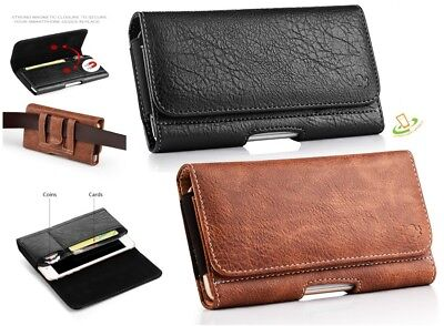 Cell Phone Pouch Horizontal Leather Case Cover Belt Clip Holster w/ Cards Holder