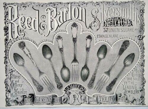 1895 TAUNTON MASSACHUSETTS Reed & Barton Silversmiths Flatware Vintage Print Ad