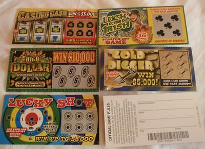 5 Phony Fake All Winning Winner Scratch Off Scratcher Lottery Tickets Joke Prank