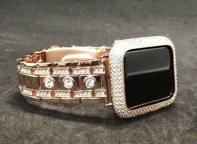 40mm Apple Watch Band Series 4 Rose Gold Rhinestone Event Cover Bezel Lab Diamond