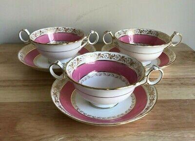 3 ROYAL CAULDON TIFFANY & CO Pink & Gold Cream Soup Bowls & Underplates - VGUC