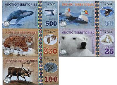 (Set, Arctic Territories, $25;50;100;250;500 2016, Polymer, UNC > Animals)