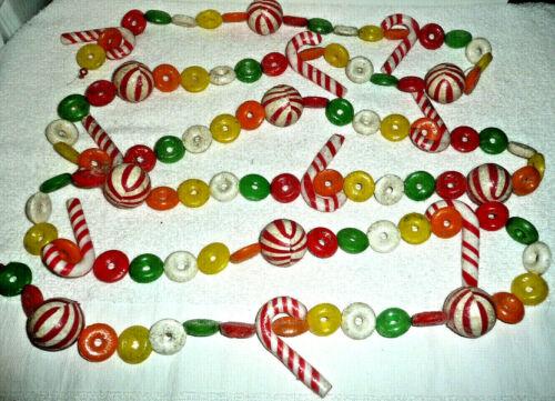 Vintage Christmas Tree Garland Blow Mold Plastic Candy String Hong Kong 9 Ft