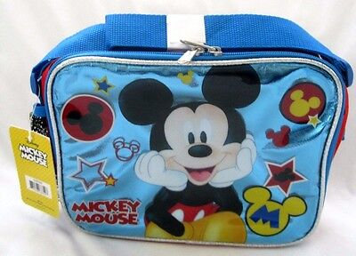 "WALT DISNEY MICKEY MOUSE 9.5"" BLUE LUNCHBOX LUNCH BAG-BRAND"