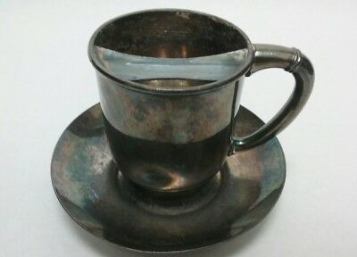 Antique Mustache Cup and Saucer - numbered 1338 by Wilcox Silver Plate Co.