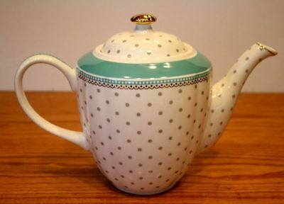 LOVELY NEW GRACE'S TEAWARE BLUE GRAY POLKA DOT TEAPOT GRACE TEA PARTY