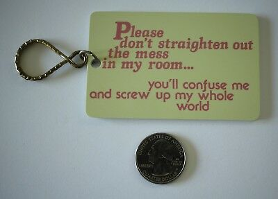 Vtg 1980 Paula's Keyrings Don't Clean My Room Hard Plastic Key Chain #20666