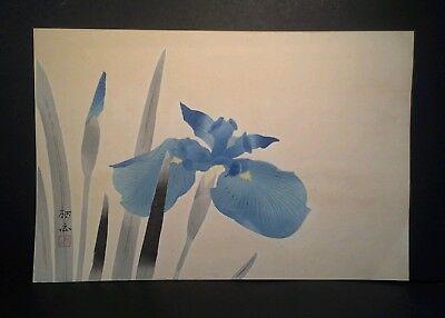 Blue Iris Signed Japanese Woodblock Print