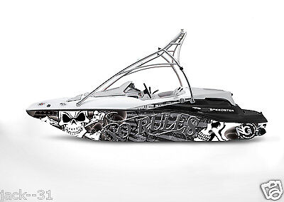 GRAPHIC KIT DECAL BOAT SPORTSTER SEA DOO SPEEDSTER SPORT WRAP SKULL NO RULES