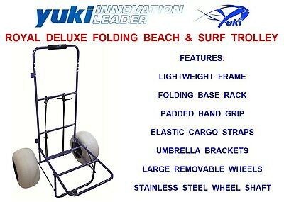 YUKI ROYAL DELUXE FOLDING BEACH TROLLEY FOR SEAT TACKLE BOX SAIKO ROD FISHING