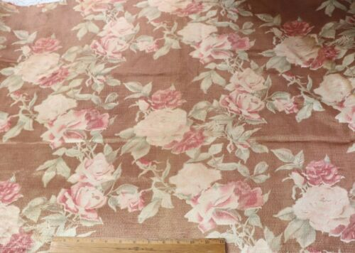 """Antique  c1930. Vintage Pink Roses Rayon Faille Curtain Panel~L-75""""X W-44"""""""