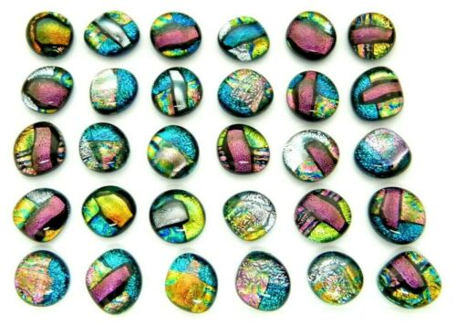 MULTI COLORS lot 30 pcs DICHROIC FUSED GLASS pendant (BB3) CABOCHON MOSAIC TILES