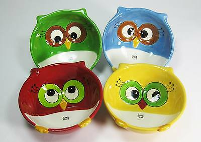 10914 Set/4 Christmas Owl Snack Dip Bowls Holiday Party Red Green Blue Yellow