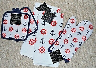 SET 5/KITCHEN TOWELS/POTHOLDERS/MITT/NAUTICAL/ANCHORS/SHIP'S WHEEL NAVY/RED NWT ()