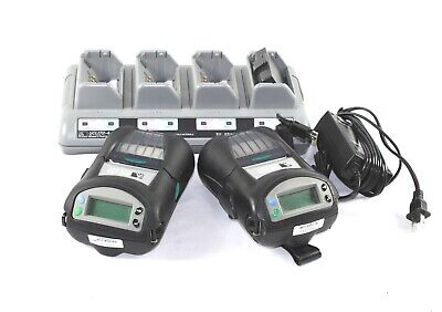 Lot Of 2 Zebra Rw220 Mobile Bluetooth Printer W Charger Ucli72-4 3 Batteries