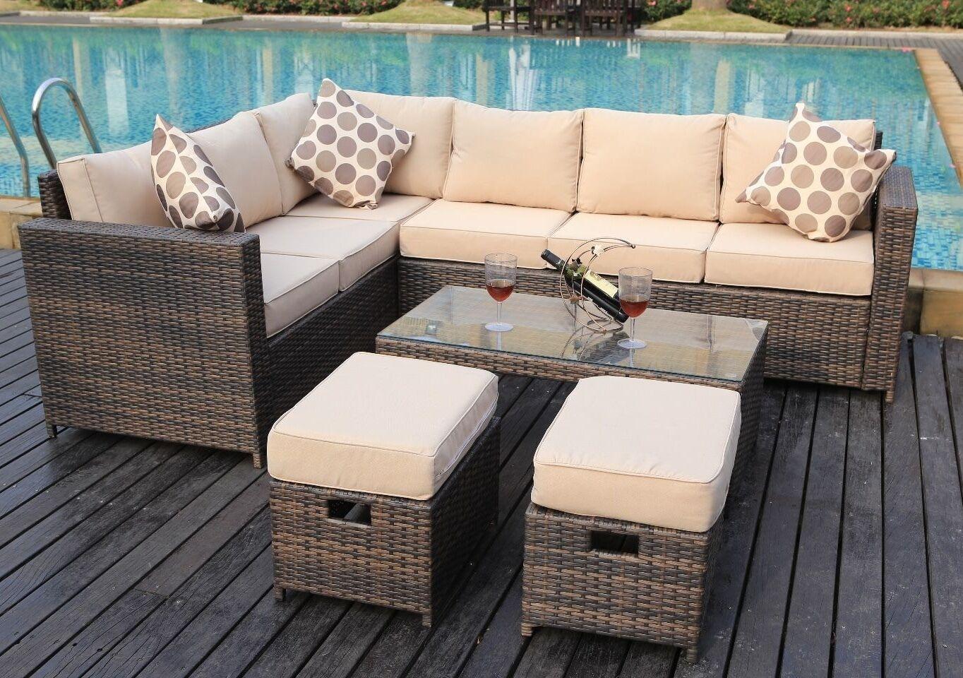 Garden Furniture - NEW Conservatory MODULAR 8 Seater Rattan Corner Sofa Set Garden Furniture brown