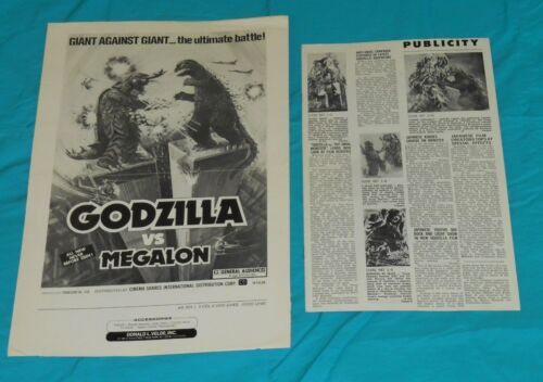 original GODZILLA VS. MEGALON and VS. THE SMOG MONSTER incomplete pressbook lot