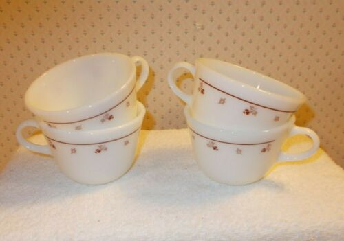 Vintage Pyrex  Burgundy Rose Pattern Set of 4 Tea or Coffee Cups