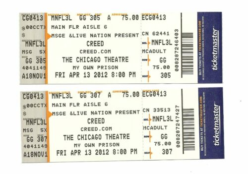 Creed Unused Concert Tickets From April 13, 2012