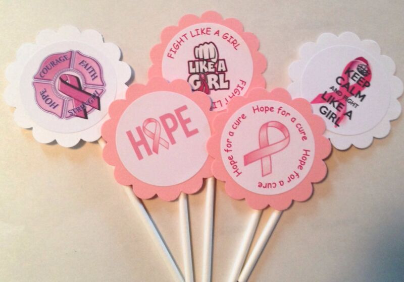 Pink Breast Cancer Awareness Cupcake Toppers 30 count 10% Back to Susan G Komen