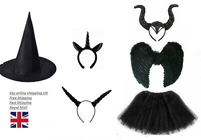 HALLOWEEN BLACK FAIRY DARK DEVIL COSTUME Feather Fancy Dress Outfit Party UK