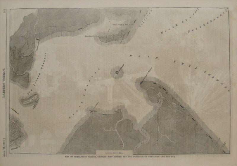 Original 1861 Civil War Map CHARLESTON HARBOR Fort Sumter Confederate Batteries
