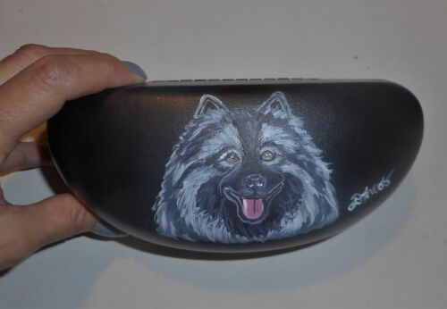 Keeshond Dog Hand Painted Eyeglass Sunglass Hard Case