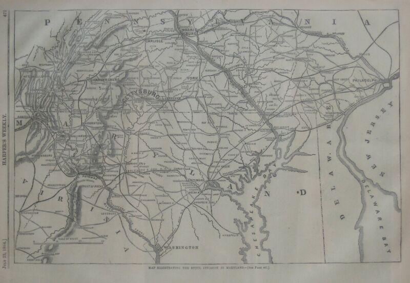 Original 1864 Civil War Map REBEL INVASION IN MARYLAND Hagerstown Harpers Ferry