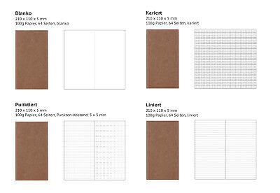 Refill Einlage für Traveler's Notebook, 21 x 11 cm, 100g/m² hochwertiges Papier