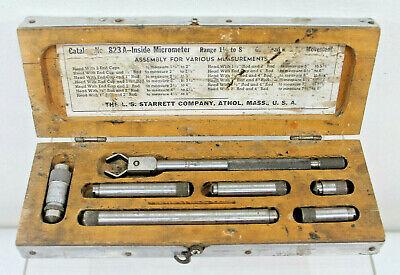 L. S. Starrett 823a 1 12 To 8 Inside Tubular Micrometers In Wood Case