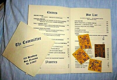 VINTAGE LOT OF 6 THE COMMITTEE SAN FRANCISCO COMEDY GROUP MENU NAPKIN TICKT 1966