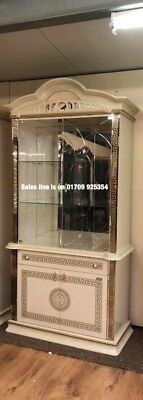 VERSACE DESIGN CREAM & GOLD ITALIAN HIGH GLOSS 2 DOOR DISPLAY CABINET