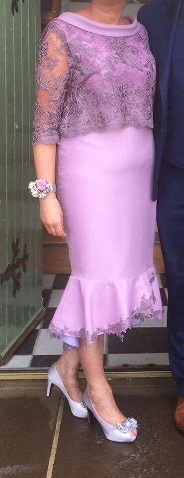 Designer made lilac fluted dress