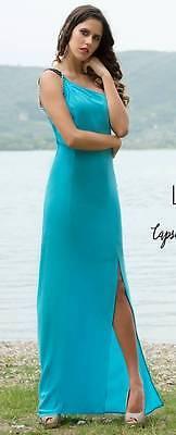 ac0da7f318e7 abito vestito LUNATIC tg M 42 44 turchese monospalla lungo spacco sera  party usato Italia