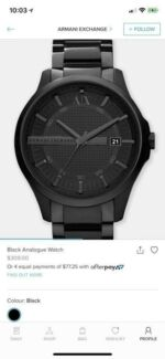 4f5cec25094 Armani Exchange Black Analogue Watch