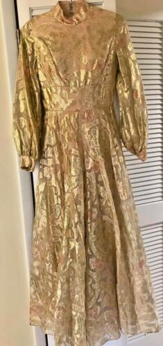 70s Wide leg long sleeved jumpsuit with sheer gold overlay closed neck Drag Prop