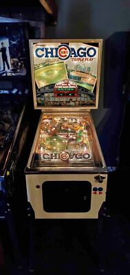 1985 Gottlieb Premiere Chicago Cubs Triple Play Pinball Machine Very Nice