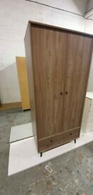 Fully Assembled Mid Century 2 Door 1 Drawer Wardrobe - Walnut